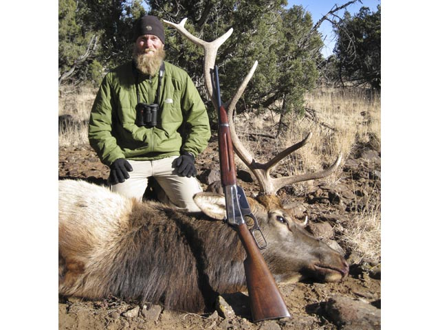 Mr Brian Drake USA And 6 Point Bull Elk Taken With Win 1895 Carbine In 3030 British And Woodleigh 312 215gr Weldcore Round Nose Soft Nose Bullet
